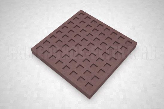 тактильная плитка с квадратными рифами коричневая